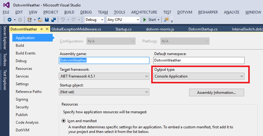 Changing the Output type to Console Application