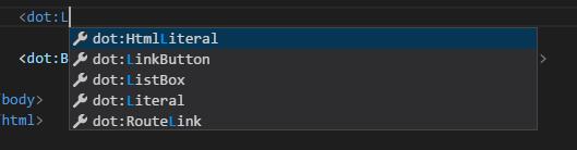 IntelliSense for DotVVM controls
