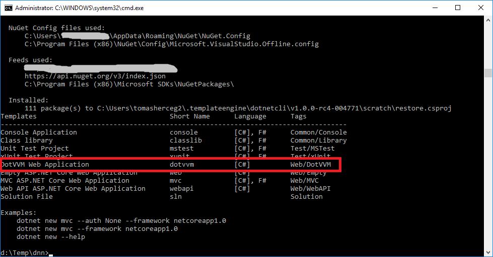 Installing DotVVM dotnet new template